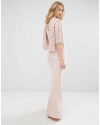 Mango High Neck Lace Top Maxi Dress