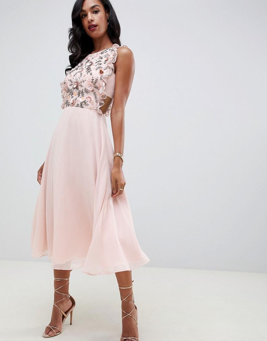 dff27e870de ASOS DESIGN Midi Dress With Pinny Bodice In 3d Floral Embellisht