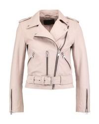 Balfern biker leather jacket washed pink medium 3993138