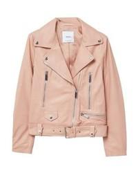 Mango Leather Jacket Rose