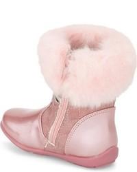 Laura Ashley Toddler Girls Faux Fur Flower Boot