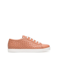 Bottega Veneta Pink Lace Up Woven Leather Sneakers