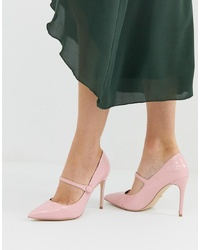 Faith Charlie Pink Patent Mary Jane Court Shoes