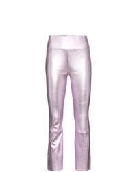 Sprwmn Metallic Flared Leather Leggings