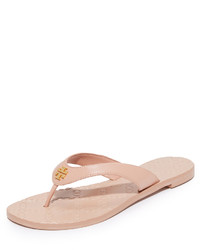 Pink Leather Thong Sandals