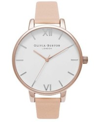 Olivia Burton Big Dial Leather Strap Watch 38mm