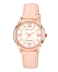 Anne Klein Roman Numeral Leather Watch 35mm Light Pink