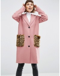 Asos Coat In Wool Blend With Faux Fur Leopard Pockets