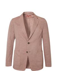 Officine Generale Light Pink Unstructured Cotton And Linen Blend Blazer