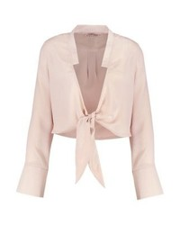 Tie front crop blouse nude medium 3938054