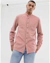 ASOS DESIGN Overshirt With Grandad Collar In Pink