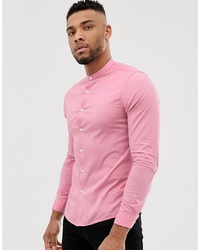 ASOS DESIGN Skinny Fit Shirt With Grandad Collar In Pink