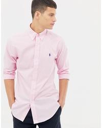 Polo Ralph Lauren Slim Fit Poplin Shirt With Collar In Pink