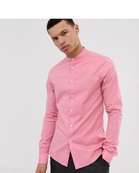 ASOS DESIGN Tall Skinny Fit Shirt With Grandad Collar In Pink
