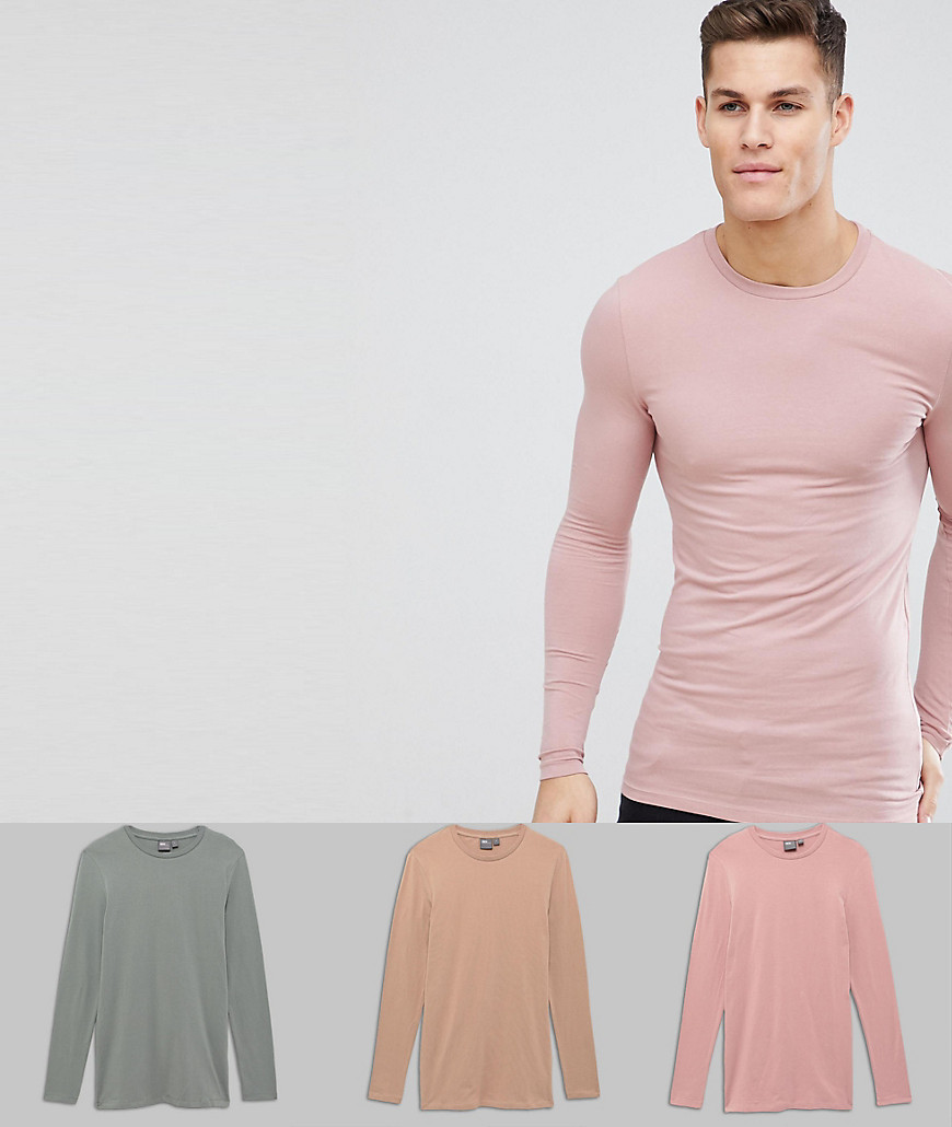 1c8bb1f7eb2b ... ASOS DESIGN 3 Pack Muscle Fit Longline Long Sleeve Crew Neck T Shirt  Save