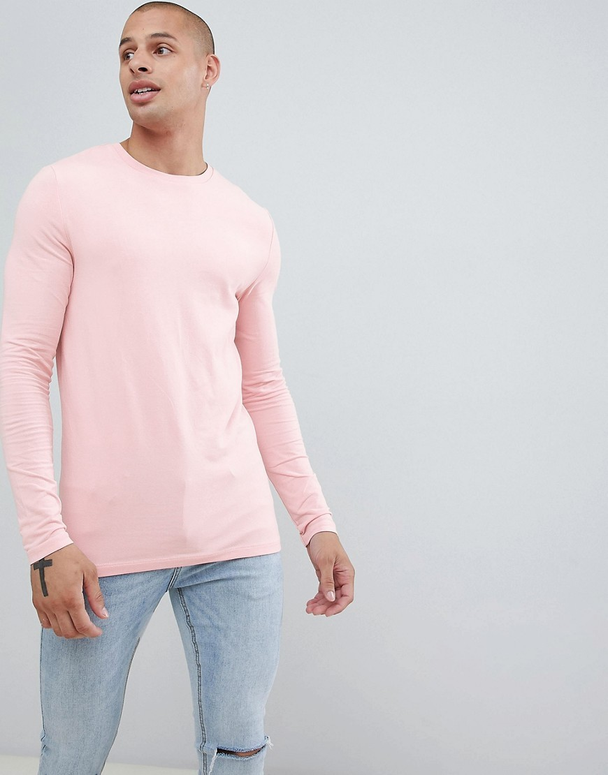 9fc310b2c3b7 ... ASOS DESIGN Muscle Fit Long Sleeve T Shirt With Crew Neck In Pink