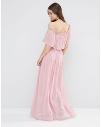 7f1b383c42c ... Asos Ruffle And Tiered Off Shoulder Maxi Dress