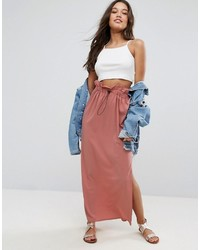 Asos Maxi Skirt With Toggles And Paperbag Waist