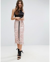 ASOS DESIGN Asos Metallic Midi Skirt With Channel Detail