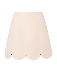 Valentino Studded Scalloped Wool And Mini Skirt
