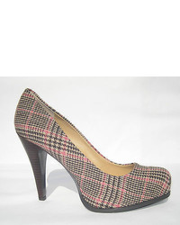 Pink Plaid Canvas Pumps