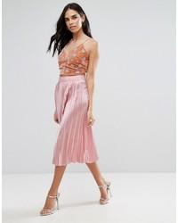 Liquorish Pleated Midi Skirt