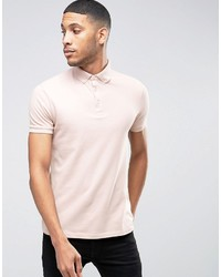 Asos Polo Shirt With Button Down Collar In Pink