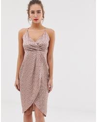 QED London Wrap Front Slip Midi Dress