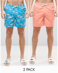 Asos Brand Swim Shorts 2 Pack In Pink And Flamingo Print In Mid Length Save 17%