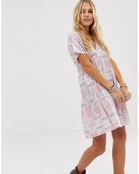 En Creme Swing Mini Dress With Tie Back In Tile Print