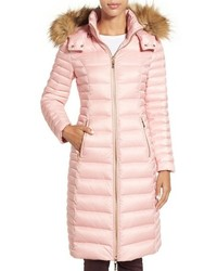 Kate Spade New York Quilted Down Jacket With Faux Fur Trim