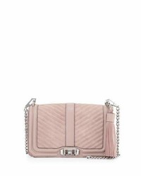 Pink Quilted Suede Crossbody Bag