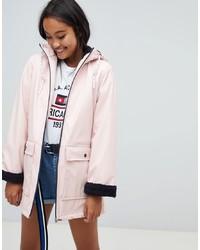 Pull&Bear Faux Fur Lined Raincoat In Ecru