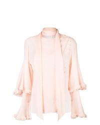Pink Ruffle Long Sleeve Blouse
