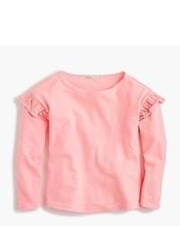Pink Ruffle Long Sleeve T-Shirt