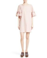Pink Ruffle Shift Dress