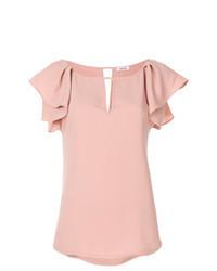 Pink Ruffle Short Sleeve Blouse