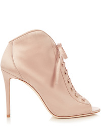 Jimmy Choo Freya 100mm Open Toe Satin Ankle Boots