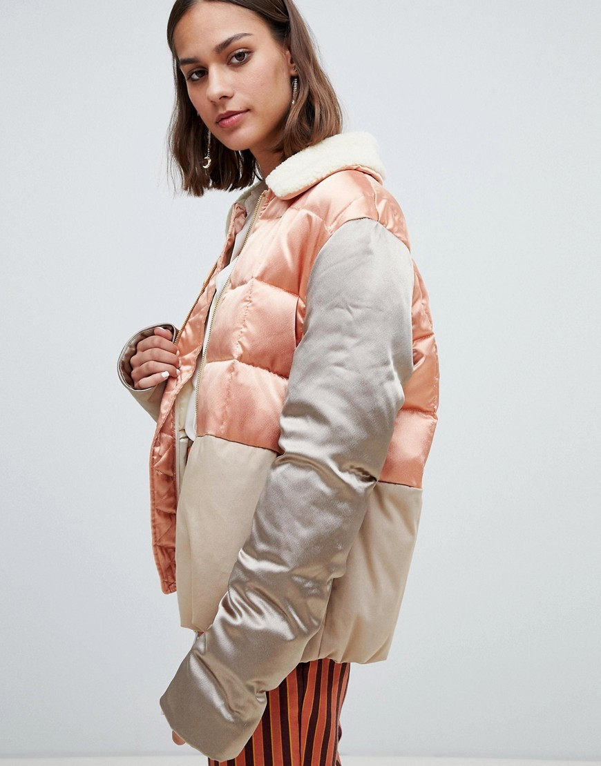 354ecb088 Satin And Canvas Quilted Bomber Jacket