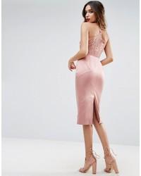 Asos Lace Insert Cami Midi Pencil Dress
