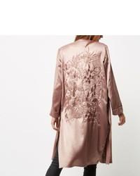 Pink Satin Duster Coat
