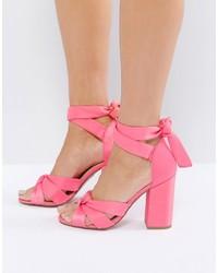 New Look Satin Wrap Around Block Heeled Sandals