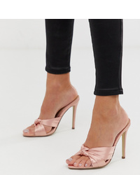 Missguided Pointed Toe Satin Mule With Bow Detail In Pink