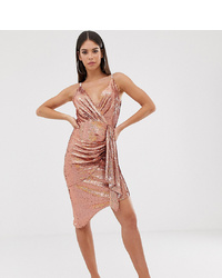 TFNC Tall Wrap Front Mini Sequin Dress In Gold