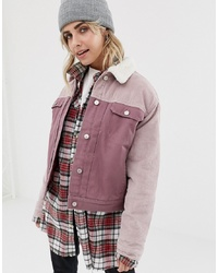 Pull&Bear Cord Burg Collar Jacket In Pink