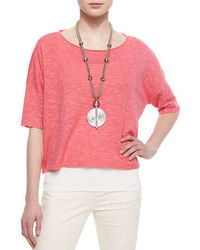 Pink Short Sleeve Sweater