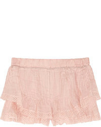 Isabel Marant Oriane Lace Trimmed Pleated Ramie Shorts
