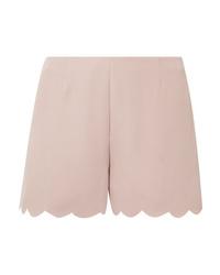 Valentino Scalloped Silk Crepe Shorts
