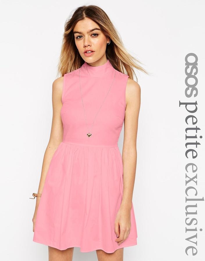 e421f00e21 ... Dresses Asos Petite Cotton Skater Dress With High Neck And Button Back  ...