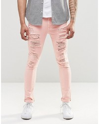 Asos Brand Super Skinny Jeans With Extreme Rips In Pink